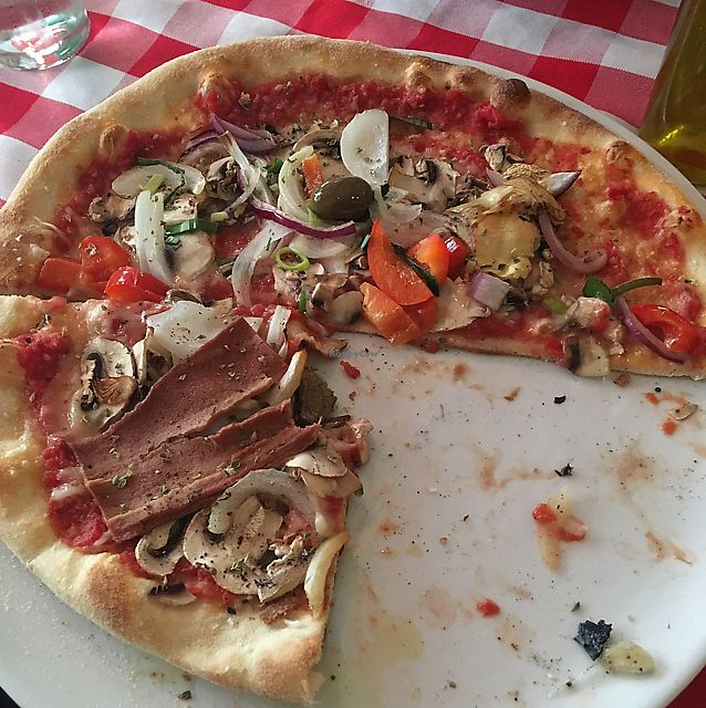 "Photo of La Trattoria  by <a href=""/members/profile/vegiko"">vegiko</a> <br/>half  vegetable pizza with vegan cheese <br/> June 12, 2017  - <a href='/contact/abuse/image/91712/268483'>Report</a>"
