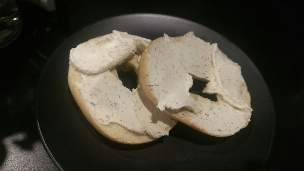 """Photo of Black Waffle  by <a href=""""/members/profile/KatieBatty"""">KatieBatty</a> <br/>Bagel with vegan cream cheese <br/> July 18, 2017  - <a href='/contact/abuse/image/91715/281948'>Report</a>"""