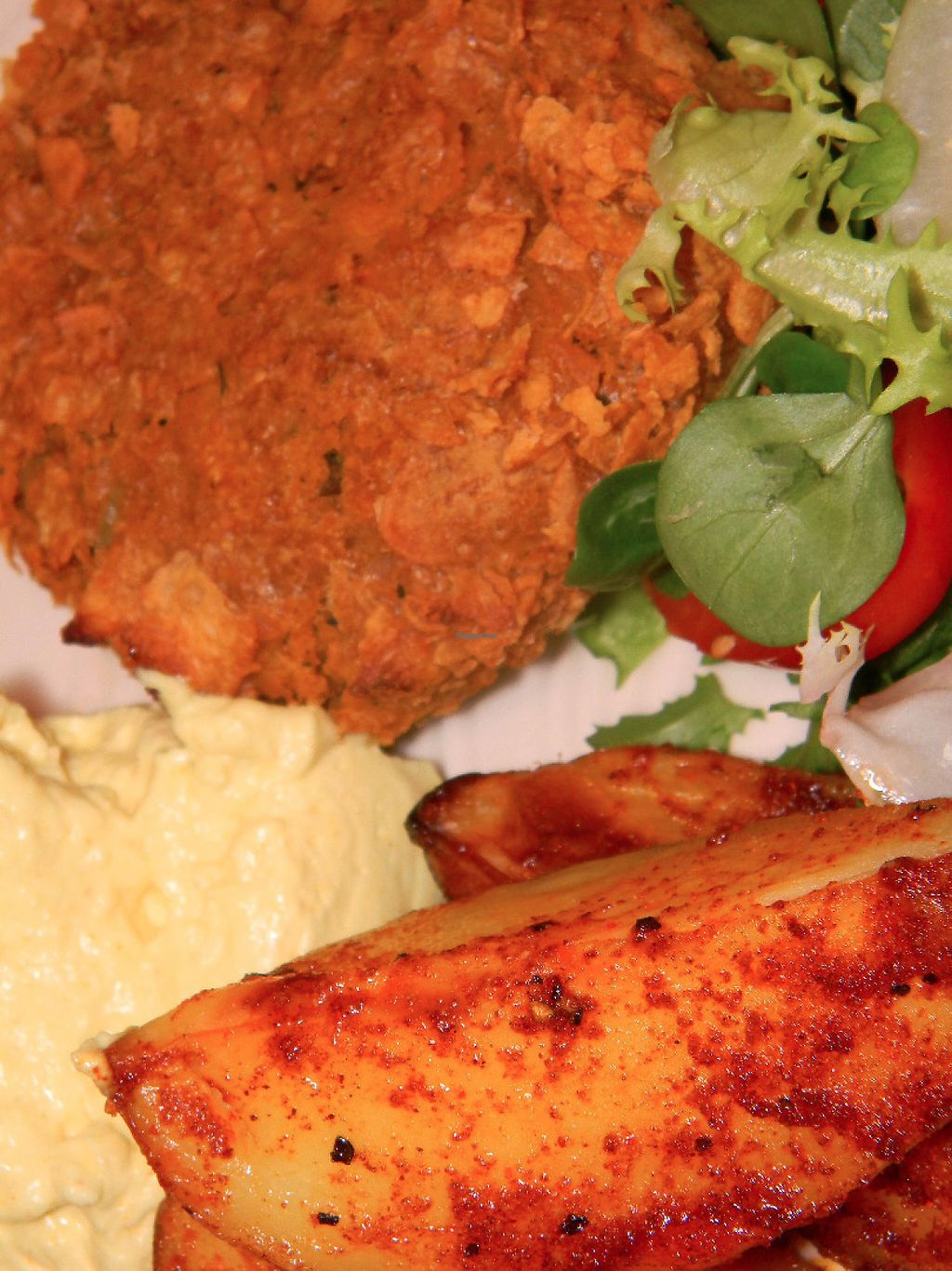 """Photo of Gabriele's Family Food  by <a href=""""/members/profile/gabrielepanozzo"""">gabrielepanozzo</a> <br/>Chickpea burger served with spicy paprika potato wedges and vegan garlic mayo <br/> May 7, 2017  - <a href='/contact/abuse/image/91733/256598'>Report</a>"""