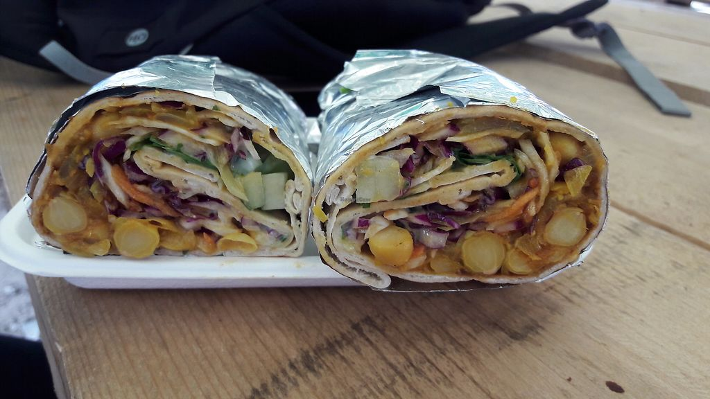 """Photo of GRUB Food Fair  by <a href=""""/members/profile/Veganolive1"""">Veganolive1</a> <br/>Chickpea Kati roll from Vaso Kitchen <br/> August 6, 2017  - <a href='/contact/abuse/image/91754/289812'>Report</a>"""