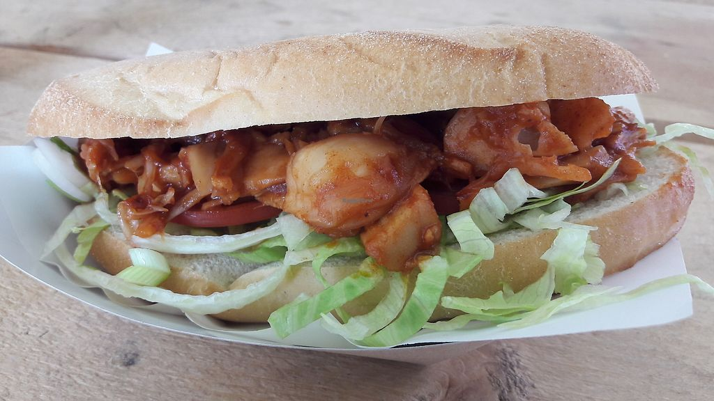 """Photo of GRUB Food Fair  by <a href=""""/members/profile/Veganolive1"""">Veganolive1</a> <br/>Jackfruit Po'Boy from Mama Sue's <br/> August 6, 2017  - <a href='/contact/abuse/image/91754/289813'>Report</a>"""