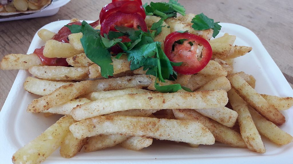 """Photo of GRUB Food Fair  by <a href=""""/members/profile/Veganolive1"""">Veganolive1</a> <br/>Masala chips from Vaso Kitchen <br/> August 6, 2017  - <a href='/contact/abuse/image/91754/289814'>Report</a>"""