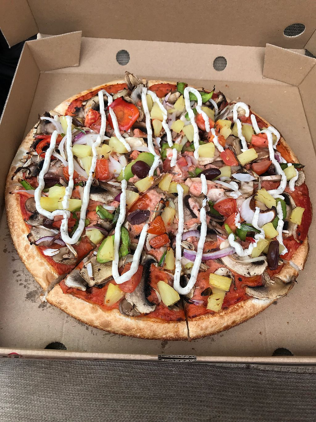 "Photo of Riptide Pizza  by <a href=""/members/profile/NirvanaRoseWilliams"">NirvanaRoseWilliams</a> <br/>Veggie pizza with cashew cheese <br/> February 2, 2018  - <a href='/contact/abuse/image/91765/353858'>Report</a>"