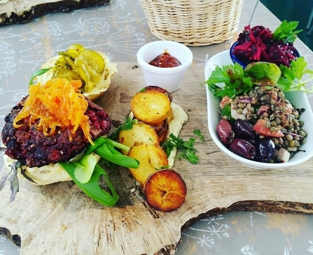 """Photo of The Railway Carriage Cafe  by <a href=""""/members/profile/ChantalW"""">ChantalW</a> <br/>beetroot burger <br/> May 7, 2017  - <a href='/contact/abuse/image/91766/256764'>Report</a>"""