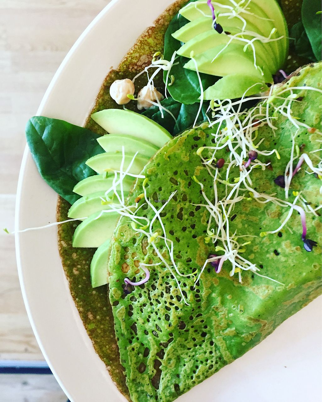 """Photo of Crepes a la carte  by <a href=""""/members/profile/EvaLeBadezet"""">EvaLeBadezet</a> <br/>green buckwheat galette <br/> August 21, 2017  - <a href='/contact/abuse/image/91777/295122'>Report</a>"""