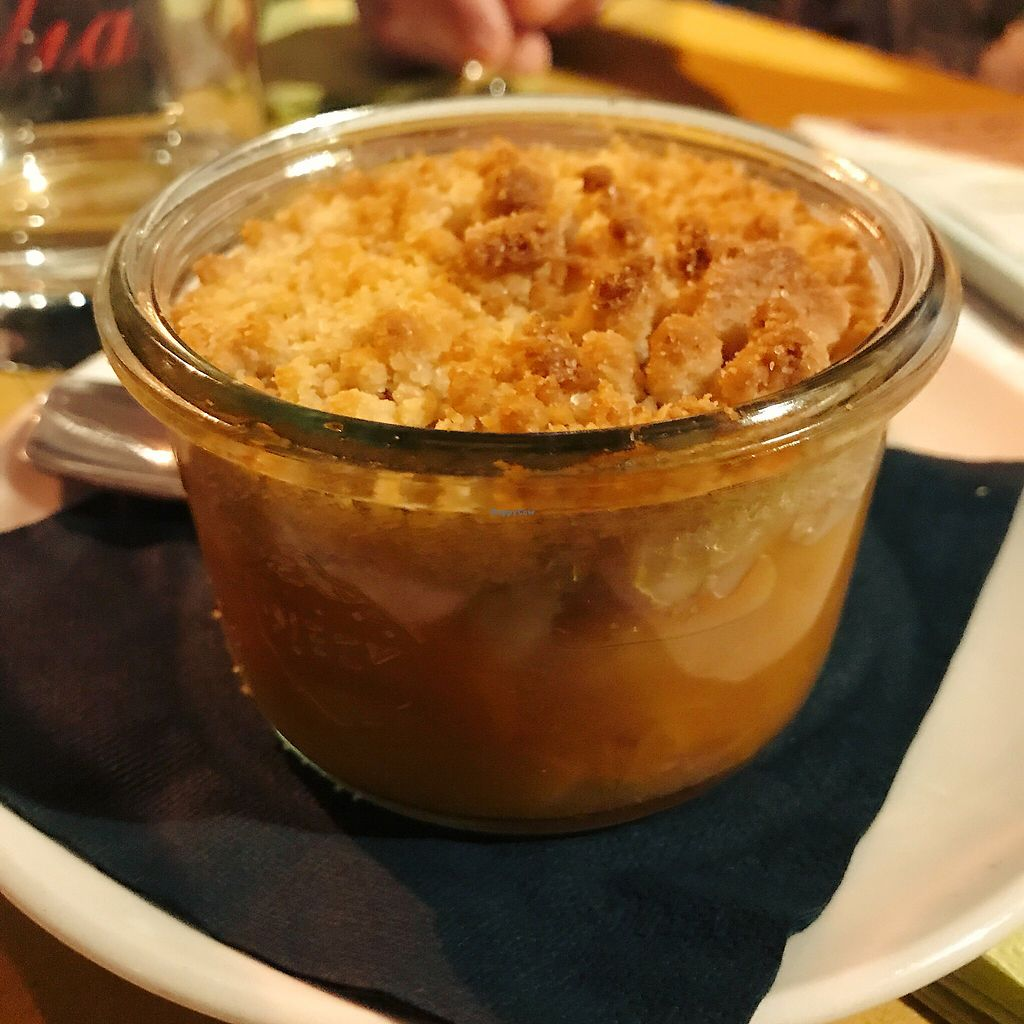 """Photo of Vero Gastrobar  by <a href=""""/members/profile/EdenGasson"""">EdenGasson</a> <br/>vegan peach crumble <br/> September 6, 2017  - <a href='/contact/abuse/image/91778/301595'>Report</a>"""