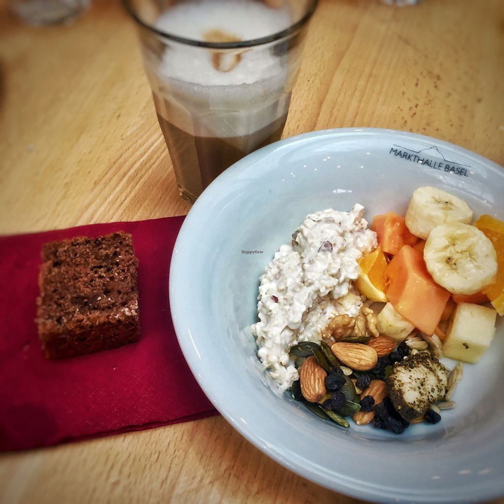 """Photo of Zmorgeland - Markthalle  by <a href=""""/members/profile/Televidiot"""">Televidiot</a> <br/>Soy latte, vegan chocolate cake, coconut milk musli, fruit salad, nuts and seeds <br/> May 7, 2017  - <a href='/contact/abuse/image/91788/256819'>Report</a>"""