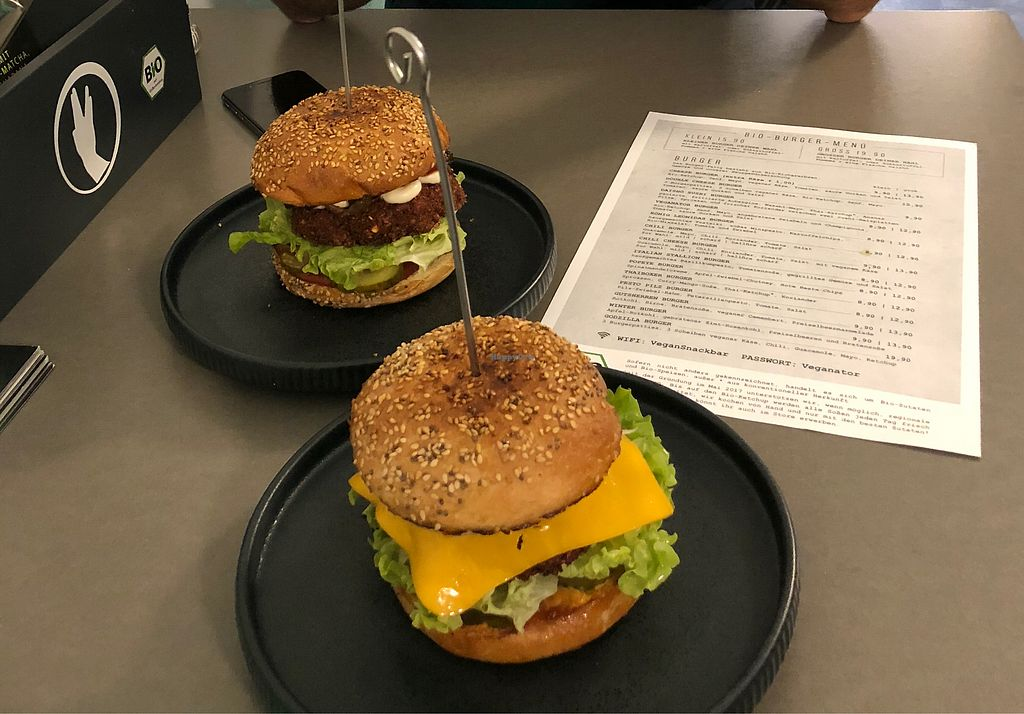 """Photo of Attila Hildmann Vegan Food  by <a href=""""/members/profile/IggyvanD"""">IggyvanD</a> <br/>Cheese and Vegenator Burger <br/> December 8, 2017  - <a href='/contact/abuse/image/91807/333401'>Report</a>"""