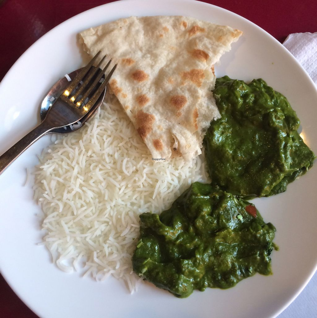 """Photo of Taj Grill  by <a href=""""/members/profile/Mitjacinda"""">Mitjacinda</a> <br/>2 types of spinach curry (sooo amazing) rice and naan <br/> May 9, 2017  - <a href='/contact/abuse/image/91815/257283'>Report</a>"""