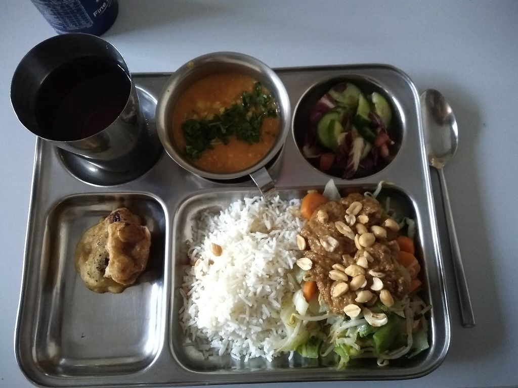 "Photo of ISKCON  by <a href=""/members/profile/thenaturalfusions"">thenaturalfusions</a> <br/>a sweet corn coconut soup, Gado Gado (mixed Asian vegetables) topped with rich peanut sauce, accompanied by paneer sate and fried banana.