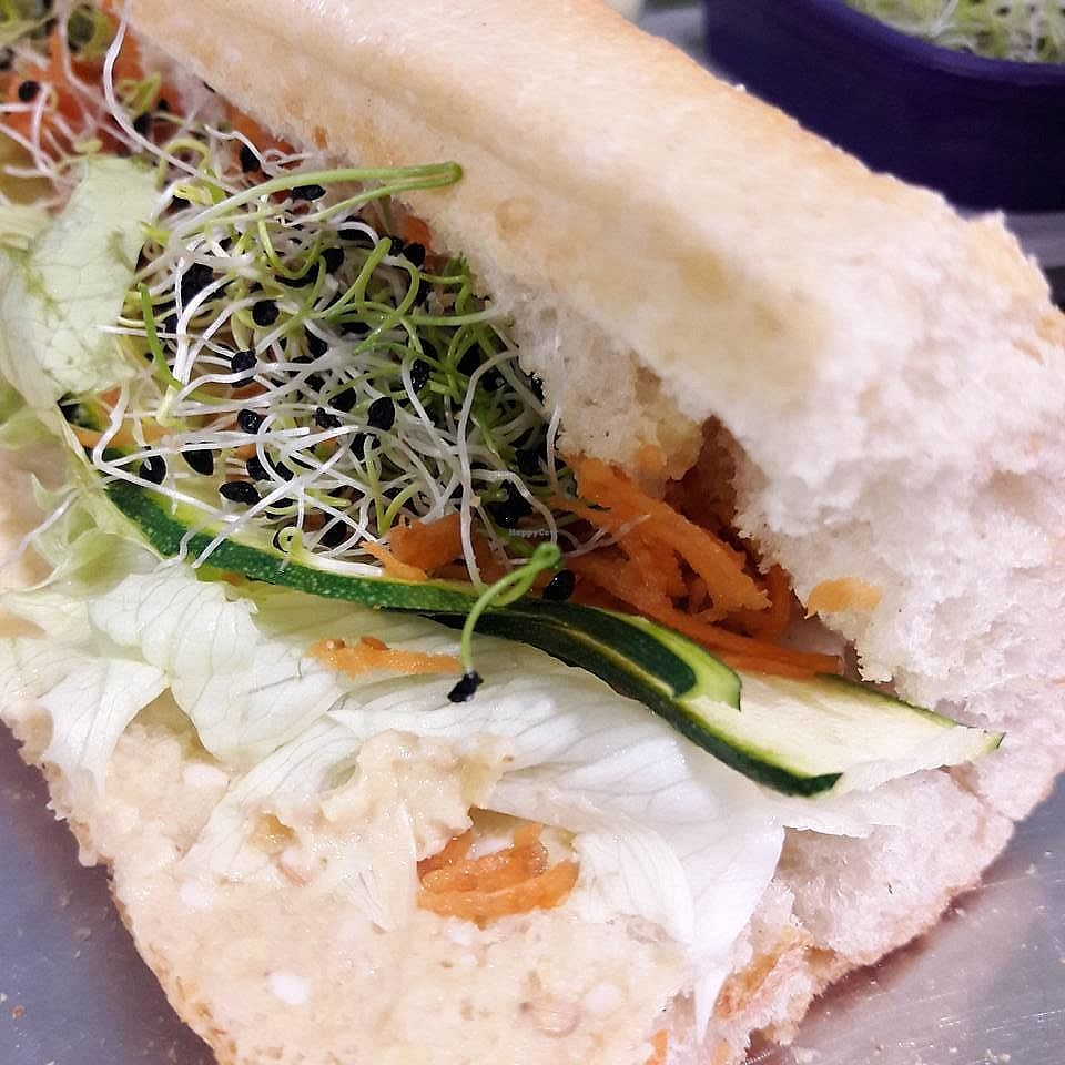 """Photo of Le Triple V  by <a href=""""/members/profile/wushu"""">wushu</a> <br/>Vegan Humus Sandwich <br/> June 9, 2017  - <a href='/contact/abuse/image/91894/267229'>Report</a>"""