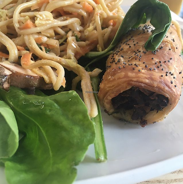 """Photo of LIV Organic & Natural Food Market  by <a href=""""/members/profile/Frijoles"""">Frijoles</a> <br/>vegan sausage roll and salad selection <br/> June 21, 2017  - <a href='/contact/abuse/image/91895/271779'>Report</a>"""