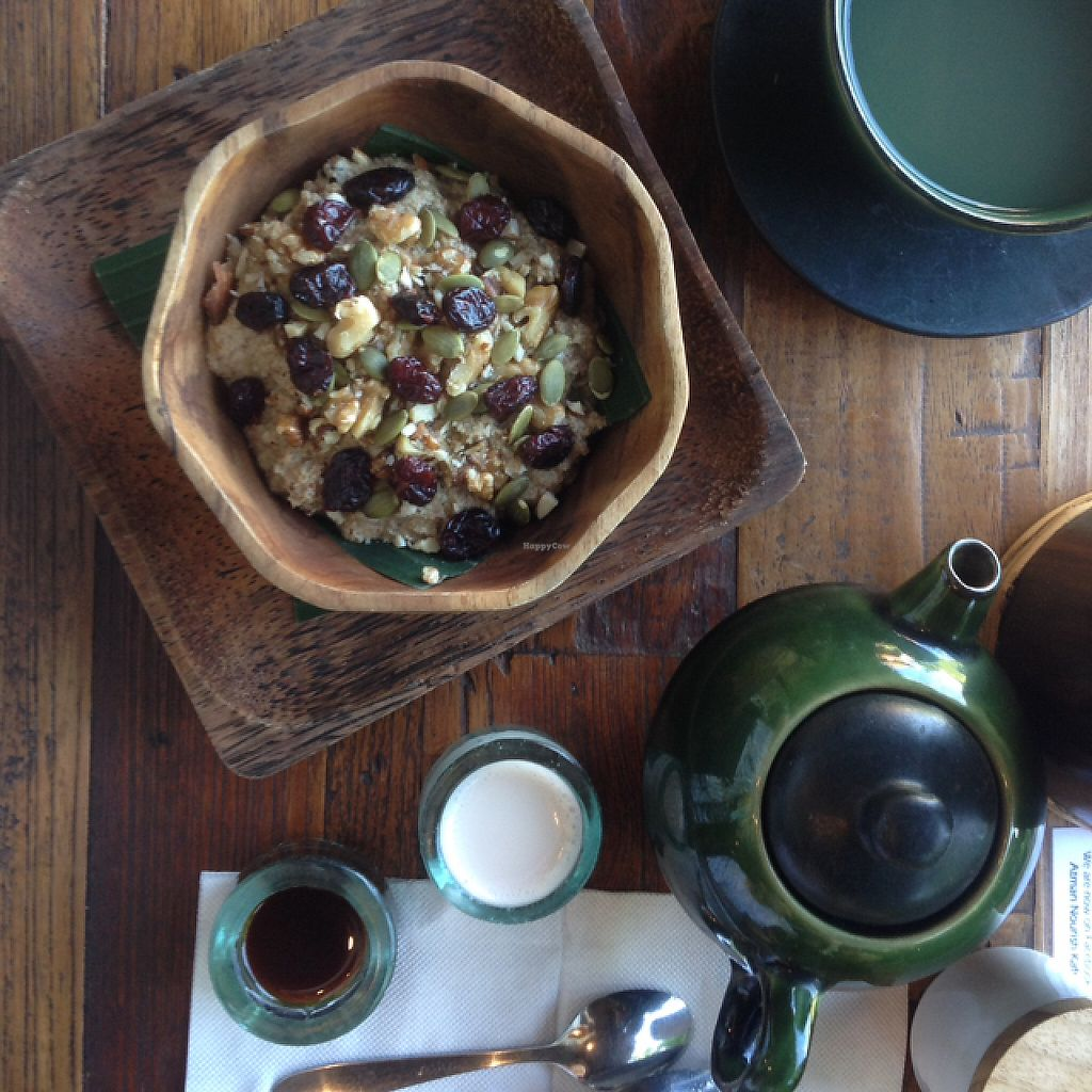 """Photo of Atman Nourish Kafe  by <a href=""""/members/profile/Bdizzle"""">Bdizzle</a> <br/>raw grain free porridge with almond milk and ginger/orange peel tea <br/> May 24, 2017  - <a href='/contact/abuse/image/91940/261996'>Report</a>"""