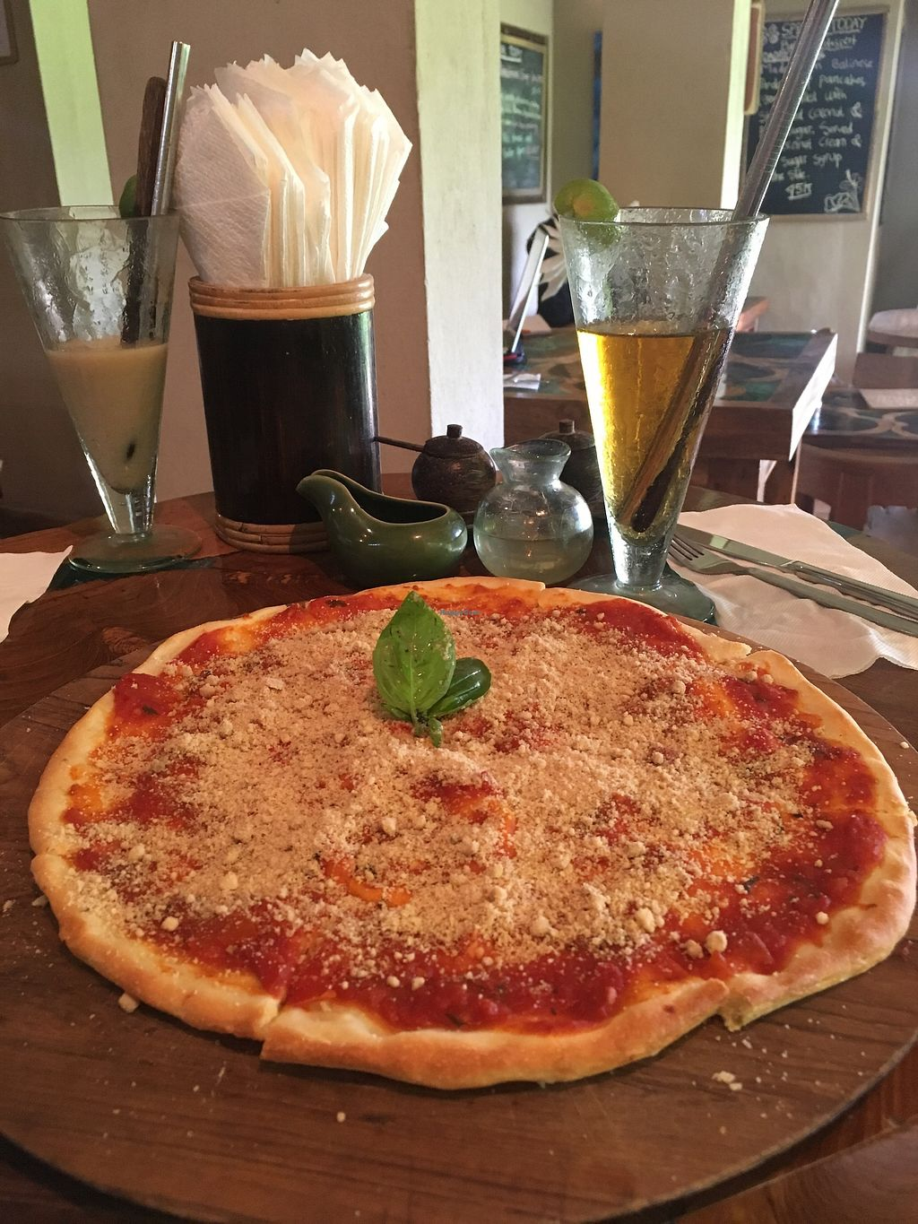 """Photo of Atman Nourish Kafe  by <a href=""""/members/profile/jojoinbrighton"""">jojoinbrighton</a> <br/>vegan pizza <br/> August 15, 2017  - <a href='/contact/abuse/image/91940/292782'>Report</a>"""
