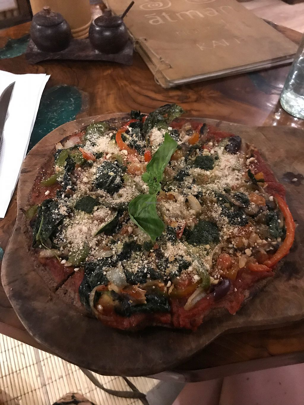"""Photo of Atman Nourish Kafe  by <a href=""""/members/profile/LolaNachtigall"""">LolaNachtigall</a> <br/>Vegan GF Pizza <br/> March 16, 2018  - <a href='/contact/abuse/image/91940/371238'>Report</a>"""