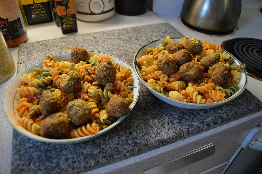 """Photo of VeloVegan  by <a href=""""/members/profile/Vegan%20GiGi"""">Vegan GiGi</a> <br/>Rotini with tomato sauce, VeloVegan meatballs, and nooch <br/> May 14, 2017  - <a href='/contact/abuse/image/91946/258783'>Report</a>"""