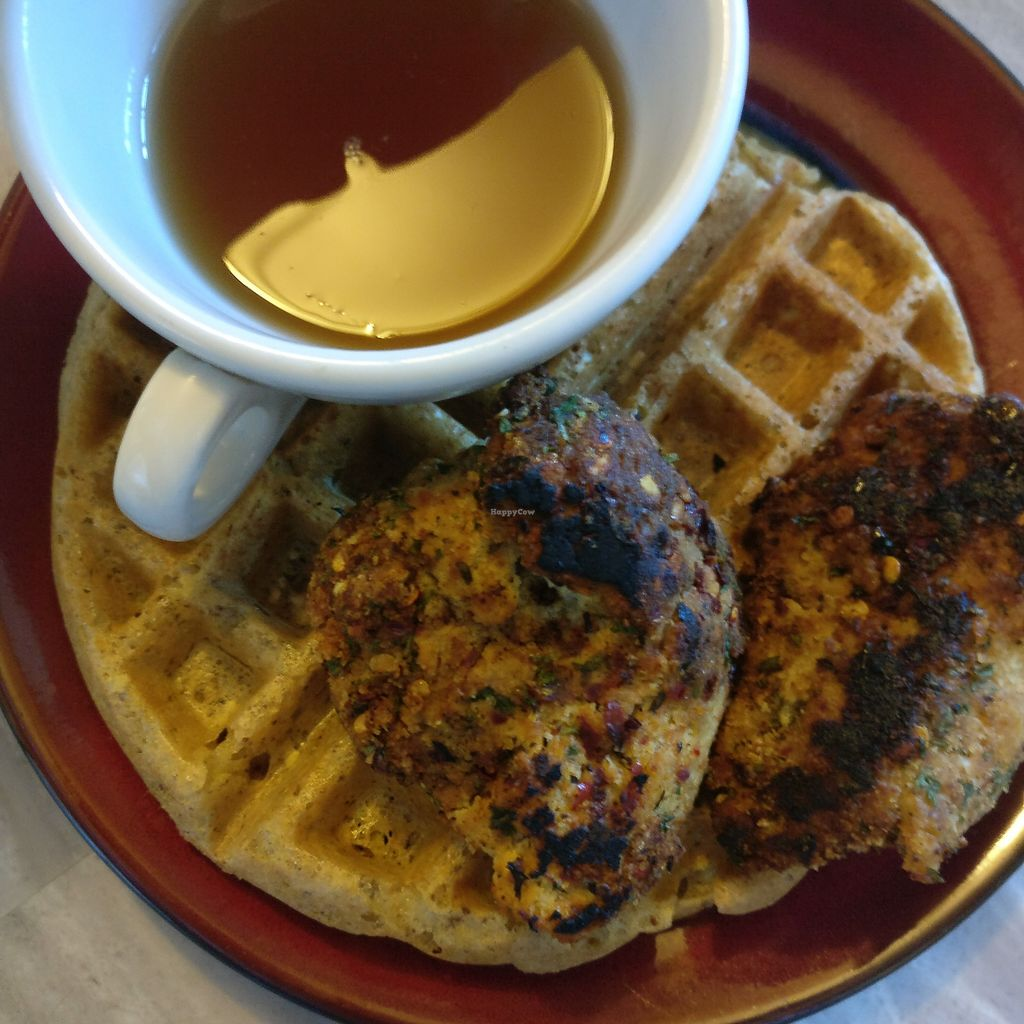 """Photo of VeloVegan  by <a href=""""/members/profile/rogueavocado"""">rogueavocado</a> <br/>Chick'n and waffles with chick'n from VeloVegan <br/> February 7, 2018  - <a href='/contact/abuse/image/91946/355917'>Report</a>"""