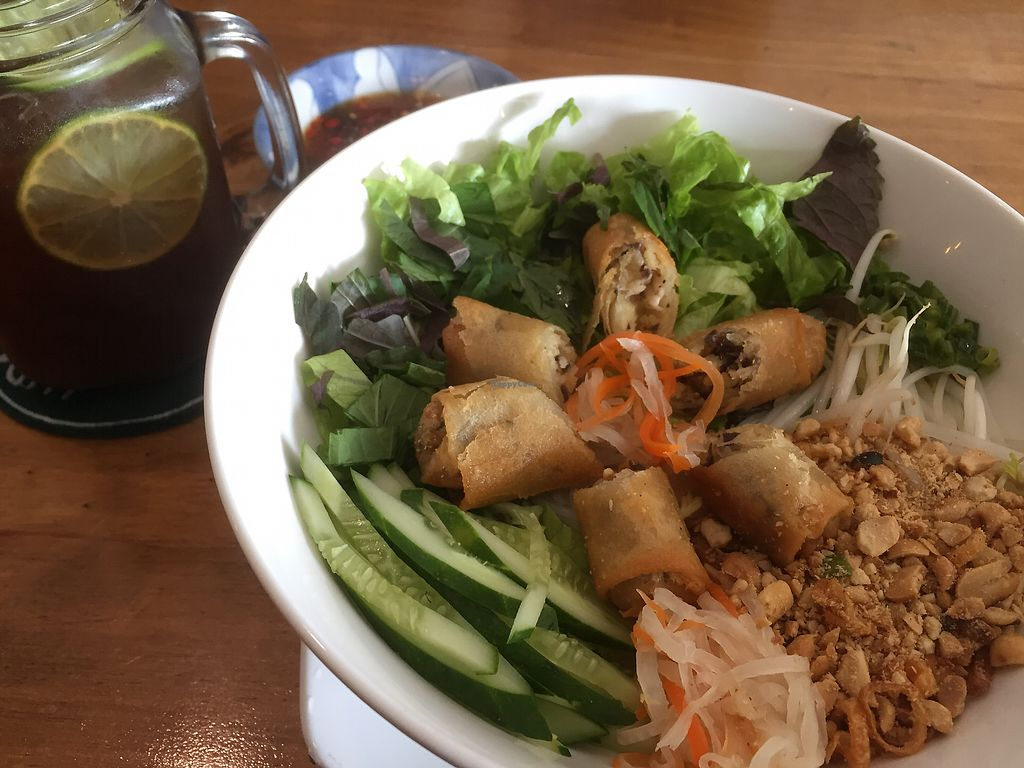 """Photo of Vegan Kitchen  by <a href=""""/members/profile/SusanRoberts"""">SusanRoberts</a> <br/>Vermicelli and fried spring rolls <br/> December 31, 2017  - <a href='/contact/abuse/image/91953/341233'>Report</a>"""