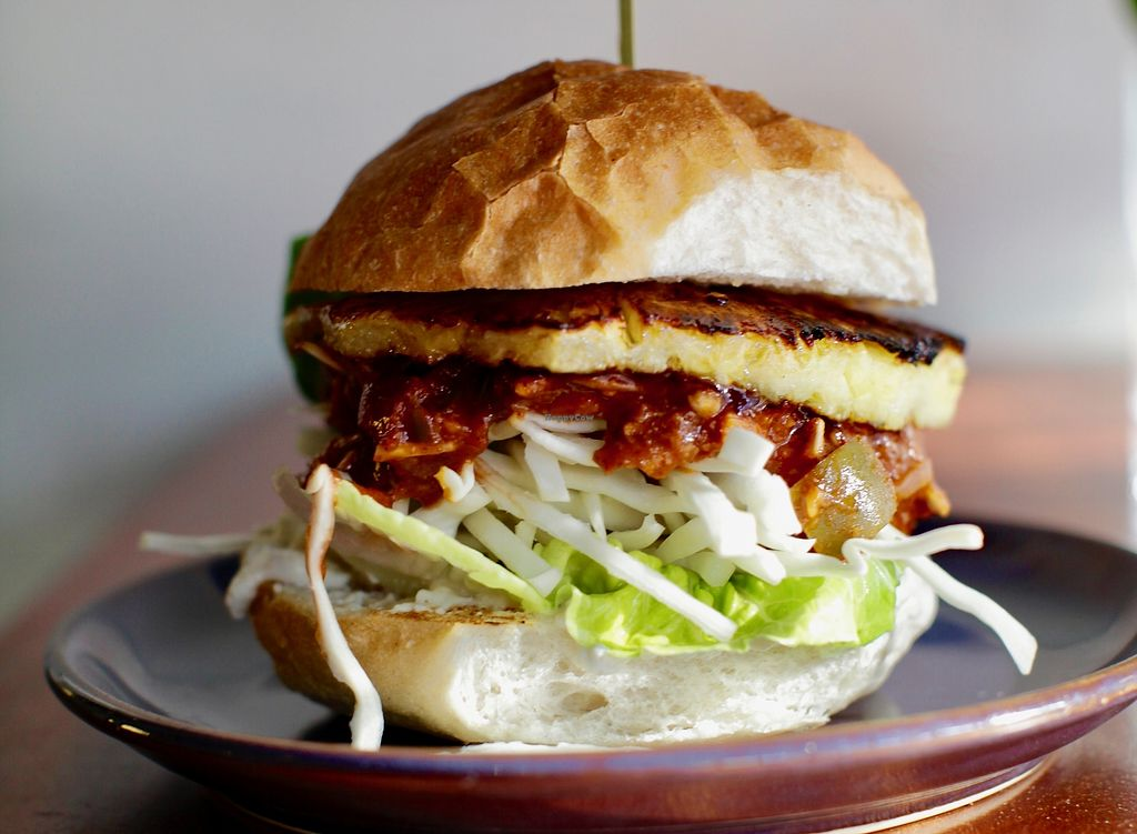 """Photo of Haunt  by <a href=""""/members/profile/AlexBrooks"""">AlexBrooks</a> <br/>Haunt Jack- Slow cooked jackfruit with five spice ketchup, charred pineapple, shredded white cabbage, lettuce, ginger aioli  <br/> June 27, 2017  - <a href='/contact/abuse/image/91962/273985'>Report</a>"""