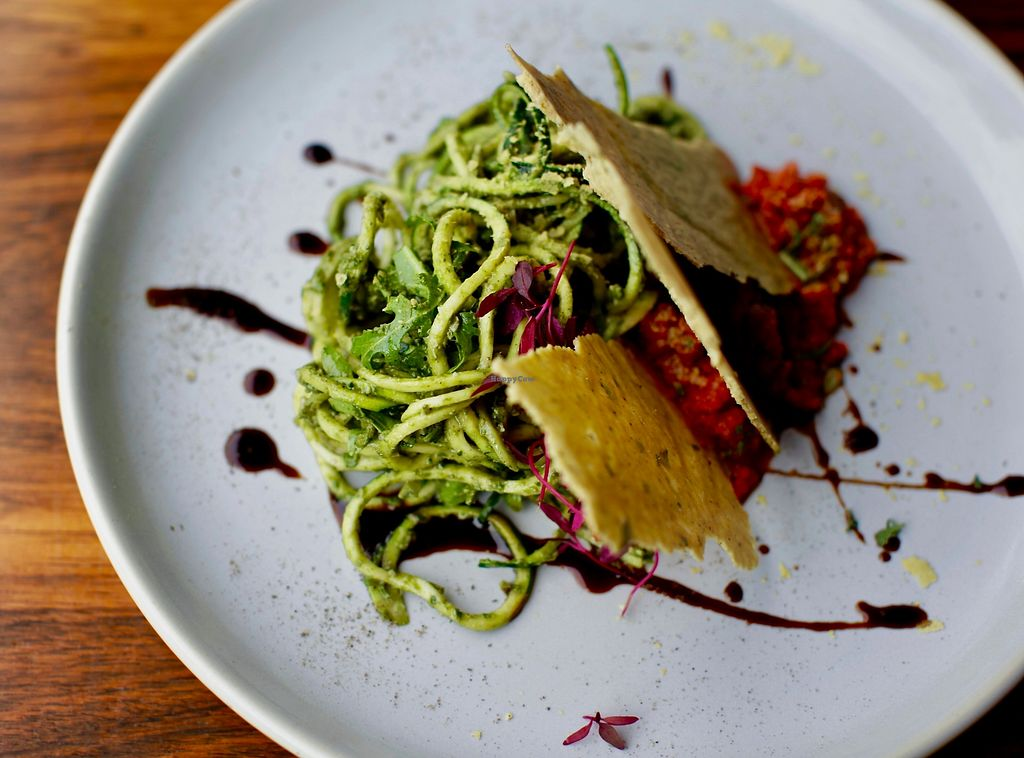 """Photo of Haunt  by <a href=""""/members/profile/AlexBrooks"""">AlexBrooks</a> <br/>Raw courgetti with summer pesto, tomato & red pepper sauce, rocket, cashew nut cheese bread  <br/> June 27, 2017  - <a href='/contact/abuse/image/91962/273987'>Report</a>"""