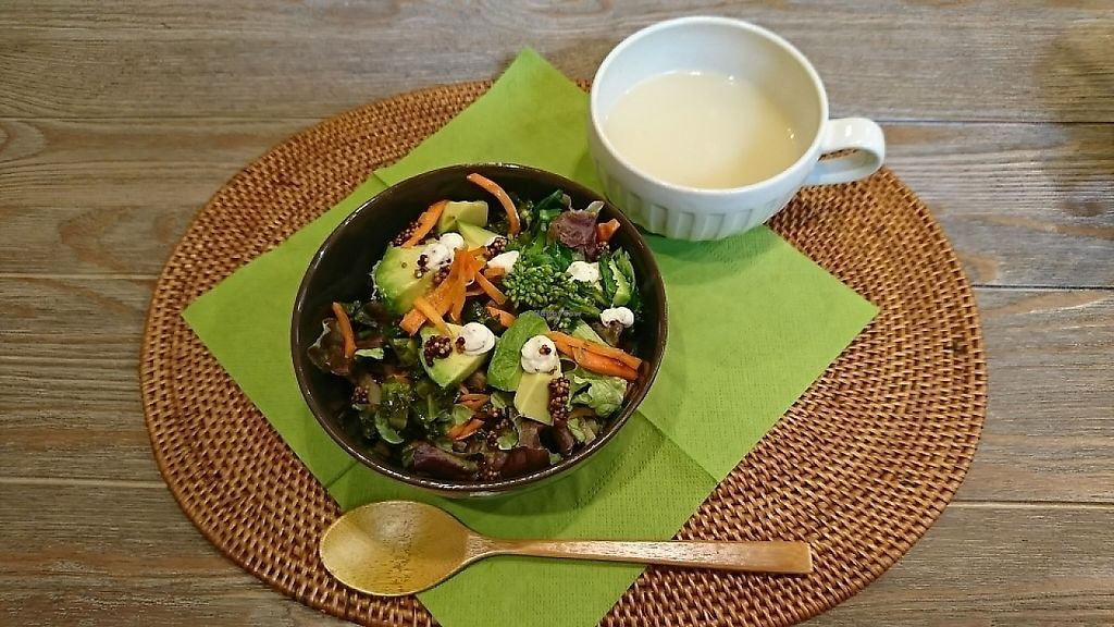 """Photo of Oso-zai Cafe Vegebon  by <a href=""""/members/profile/moka_a"""">moka_a</a> <br/>Vegedon(¥1000). As you see, greens exuberate over brown rice in a 丼(domburi, often pronounced curtailed as don), bowl in Japanese <br/> May 11, 2017  - <a href='/contact/abuse/image/91972/257720'>Report</a>"""