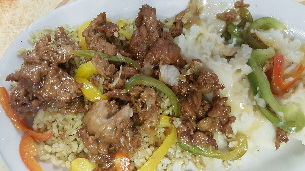 """Photo of Universal Love Vegan Cafe   by <a href=""""/members/profile/karenlynn"""">karenlynn</a> <br/>spareribs with mashed potatoes <br/> November 27, 2017  - <a href='/contact/abuse/image/91976/329799'>Report</a>"""