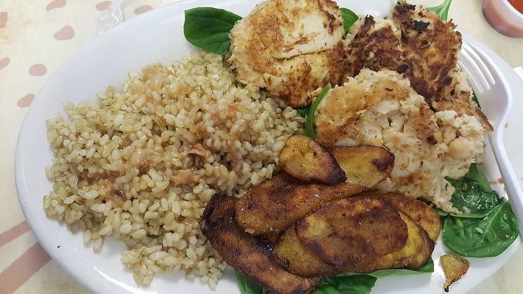 """Photo of Universal Love Vegan Cafe   by <a href=""""/members/profile/karenlynn"""">karenlynn</a> <br/>crab cakes with coconut rice and plantains <br/> November 27, 2017  - <a href='/contact/abuse/image/91976/329800'>Report</a>"""