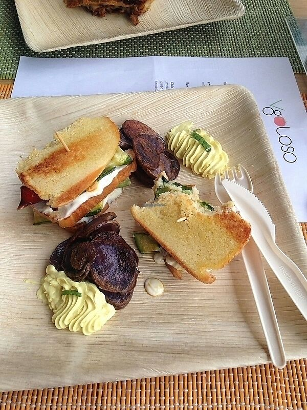 "Photo of VgOloso  by <a href=""/members/profile/mattmein"">mattmein</a> <br/>Chickpea flour Club sandwich with grilled veggies, pink potatoe chips <br/> July 26, 2017  - <a href='/contact/abuse/image/91995/285162'>Report</a>"