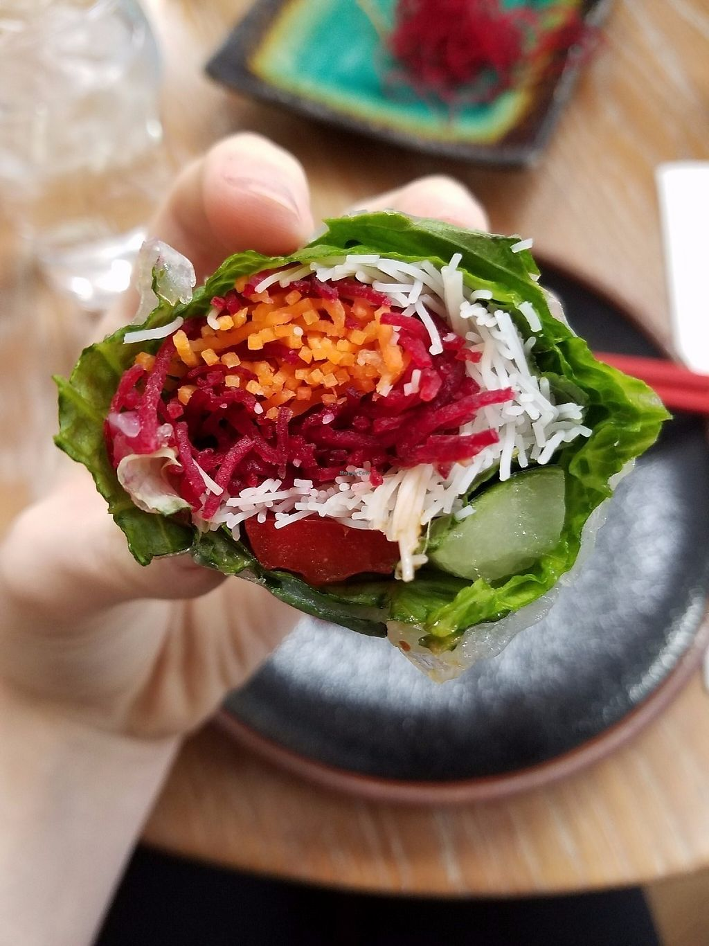 """Photo of DC Noodles  by <a href=""""/members/profile/MerryRose"""">MerryRose</a> <br/>Inside view of the veggie rolls; rice paper wrapping, greens wrapping, filled with carrot, noodles, and spiralized beetroot <br/> May 11, 2017  - <a href='/contact/abuse/image/92005/257888'>Report</a>"""