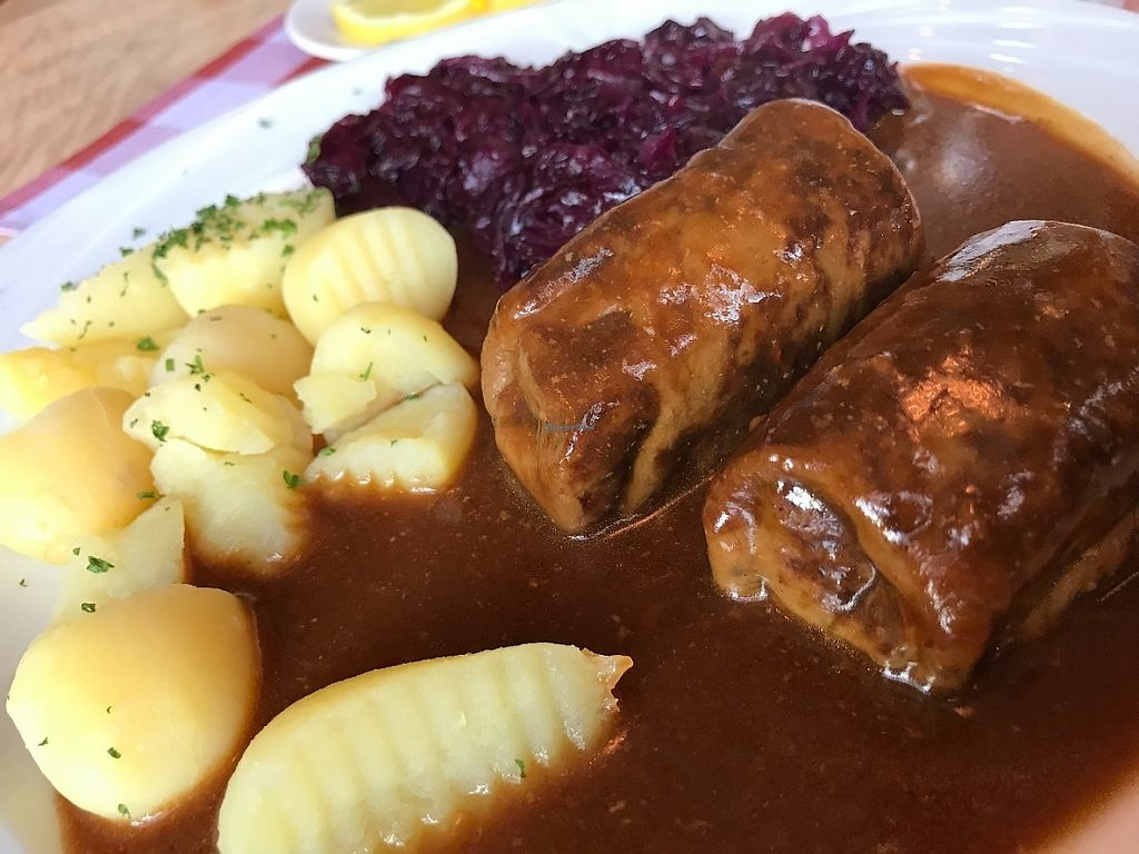 """Photo of Sudtiroler Stubn  by <a href=""""/members/profile/marky_mark"""">marky_mark</a> <br/>vagan (saitan) roulade & potatos & red kraut <br/> May 14, 2017  - <a href='/contact/abuse/image/92032/258772'>Report</a>"""