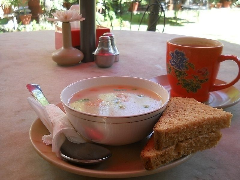 """Photo of Rabsel Garden Cafe at Shechen Monastery  by <a href=""""/members/profile/Masala-Dosa"""">Masala-Dosa</a> <br/>Thai soup (well, not really like in Thailand...) <br/> October 18, 2017  - <a href='/contact/abuse/image/92083/316289'>Report</a>"""