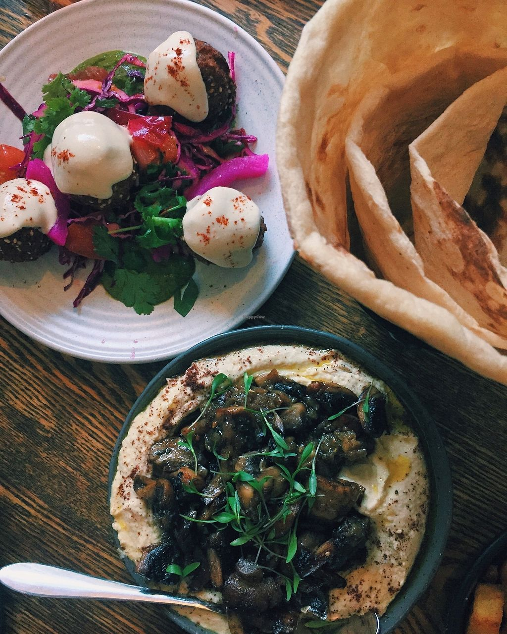 """Photo of The Hummus Club  by <a href=""""/members/profile/caitjoy"""">caitjoy</a> <br/>mushroom hummus and falafels <br/> January 5, 2018  - <a href='/contact/abuse/image/92106/343208'>Report</a>"""