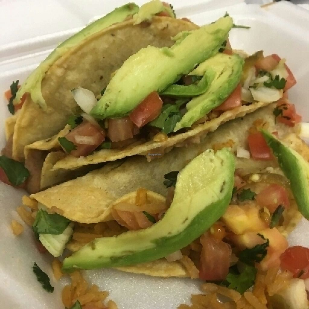 """Photo of Maria's Buena Cocina  by <a href=""""/members/profile/RosieTheVegan"""">RosieTheVegan</a> <br/>Beans/Rice tacos <br/> May 16, 2017  - <a href='/contact/abuse/image/92160/259197'>Report</a>"""