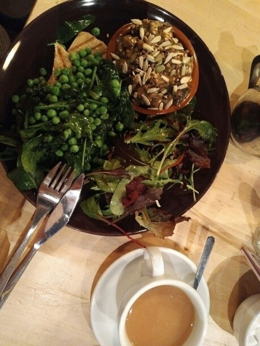 """Photo of Something at The Glad Cafe  by <a href=""""/members/profile/annie.virtual"""">annie.virtual</a> <br/>mushroom ragout with peas and salad for breakfast <br/> May 17, 2017  - <a href='/contact/abuse/image/92165/259597'>Report</a>"""