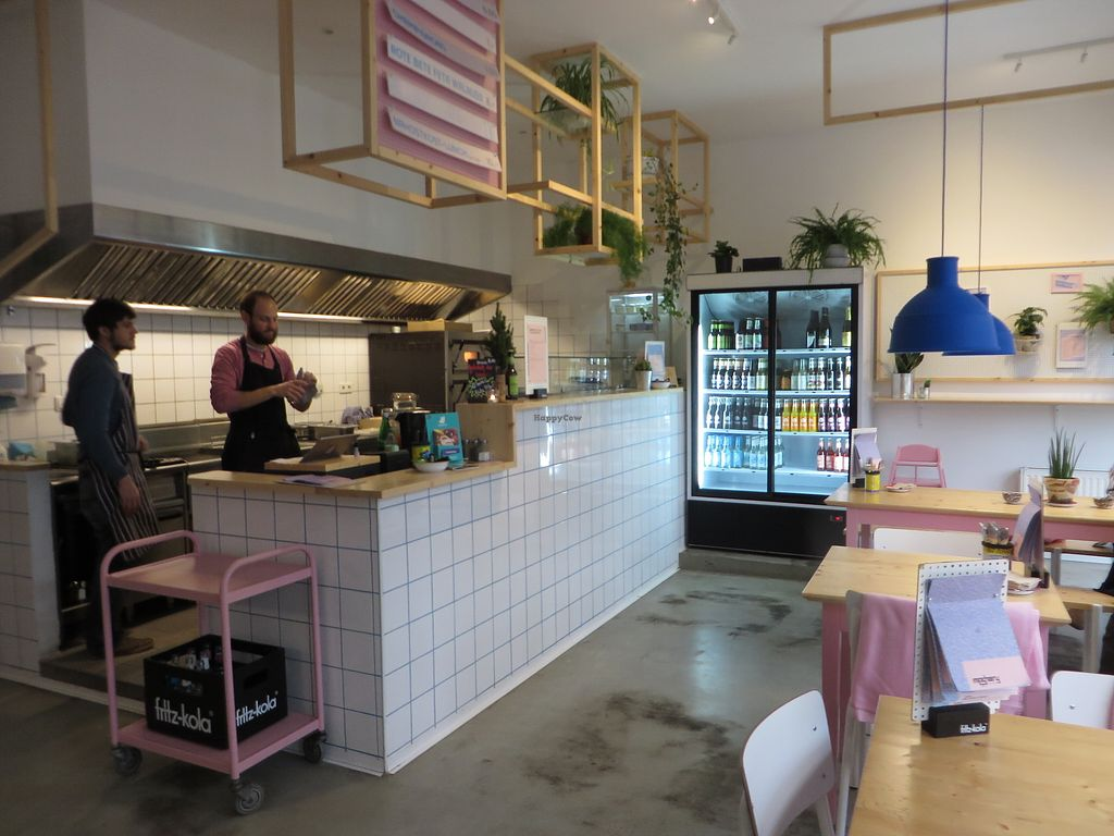 """Photo of Mashery - Hummus Kitchen  by <a href=""""/members/profile/VegiAnna"""">VegiAnna</a> <br/>Happy staff at work <br/> January 27, 2018  - <a href='/contact/abuse/image/92199/351397'>Report</a>"""