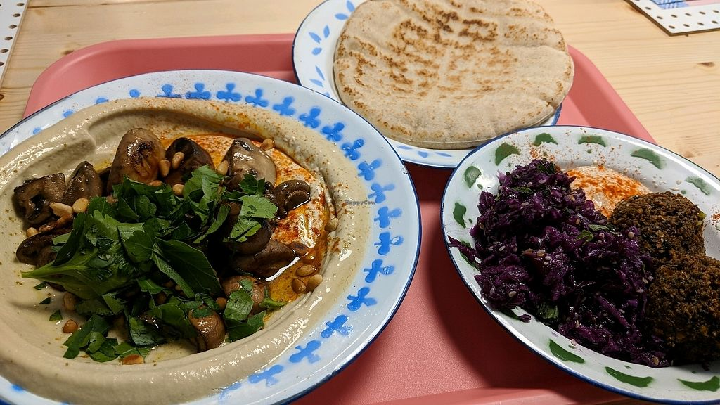 """Photo of Mashery - Hummus Kitchen  by <a href=""""/members/profile/Veganbeanstalk"""">Veganbeanstalk</a> <br/>lunch plate with fava bean hummus <br/> January 31, 2018  - <a href='/contact/abuse/image/92199/353182'>Report</a>"""