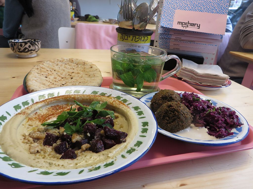"""Photo of Mashery - Hummus Kitchen  by <a href=""""/members/profile/VegiAnna"""">VegiAnna</a> <br/>Lunch special: beetroot hummus with walnuts, green falafels, Arabic red cabbage and date salad, with mint tea (all vegan) <br/> March 5, 2018  - <a href='/contact/abuse/image/92199/367204'>Report</a>"""