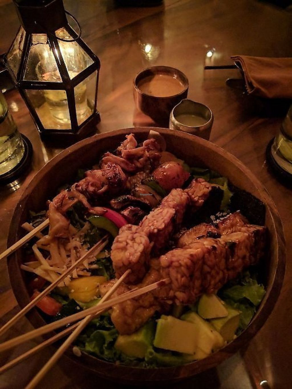 """Photo of Kismet Restaurant & Lounge  by <a href=""""/members/profile/wildeyedgirl"""">wildeyedgirl</a> <br/>Salad bowl with mixed vegan skewers <br/> May 16, 2017  - <a href='/contact/abuse/image/92216/259216'>Report</a>"""