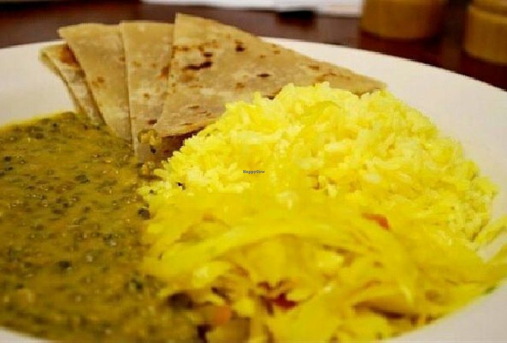 """Photo of Palace International  by <a href=""""/members/profile/turtleveg"""">turtleveg</a> <br/>Dengu na Chapati: Lentil curry with basmati rice & cabbage and a side of chapati flatbread <br/> May 15, 2017  - <a href='/contact/abuse/image/92232/259109'>Report</a>"""