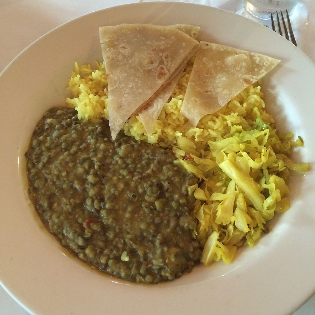"""Photo of Palace International  by <a href=""""/members/profile/The%20Vegan%20Chemist"""">The Vegan Chemist</a> <br/>Dengu Na Chapati (lentils, rice, cabbage, and chapati) <br/> August 8, 2017  - <a href='/contact/abuse/image/92232/290600'>Report</a>"""