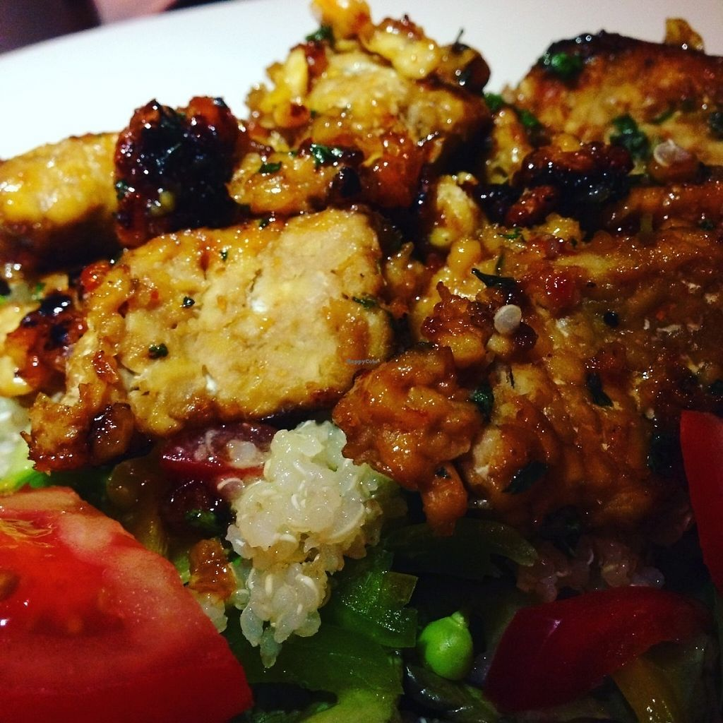 """Photo of Liberty Grill  by <a href=""""/members/profile/Tamasin"""">Tamasin</a> <br/>Delicious 'San Fran' - good old St. Francis ?? - Tempeh Salad with sweet chilli sauce  <br/> May 18, 2017  - <a href='/contact/abuse/image/92266/260088'>Report</a>"""