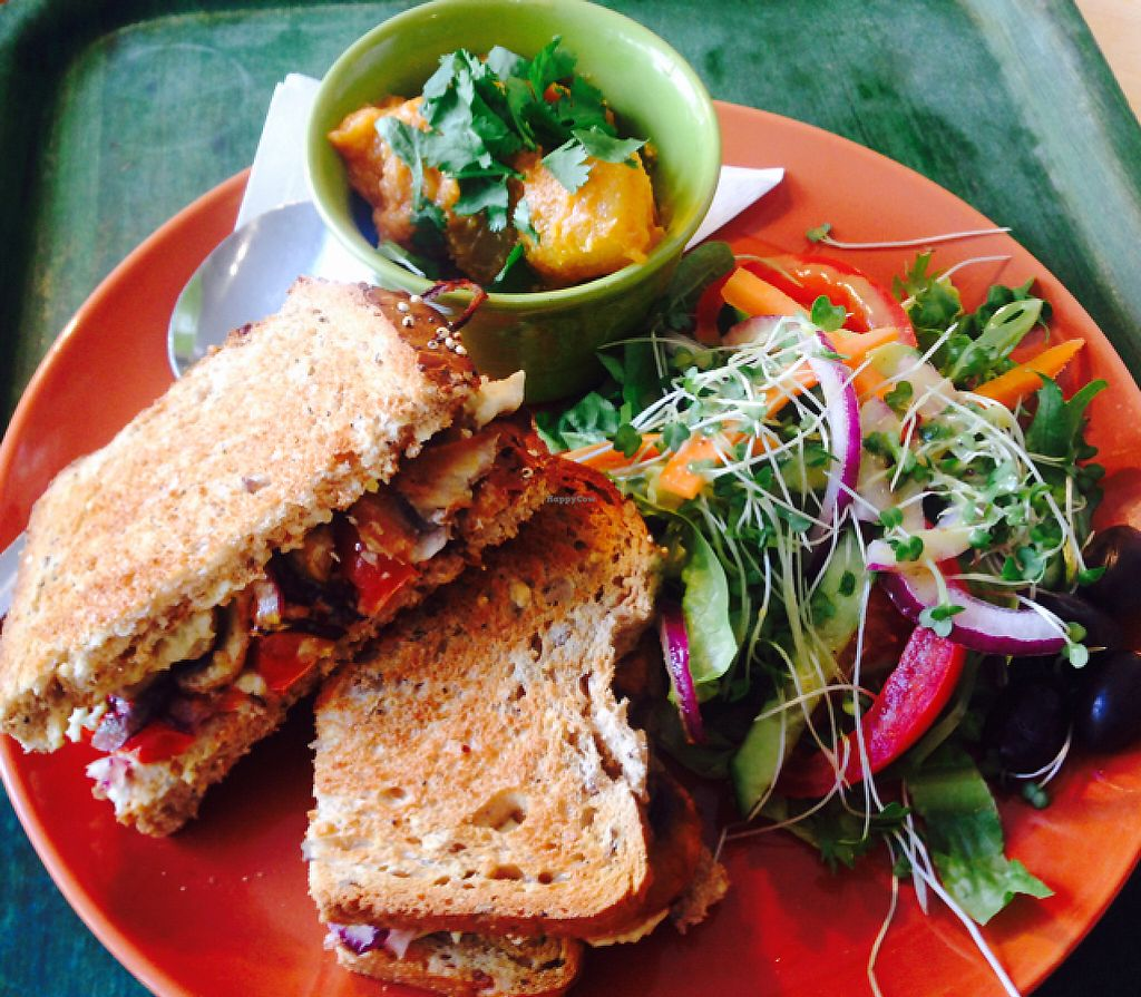 """Photo of The Greenhouse Cafe  by <a href=""""/members/profile/GreenhouseCafe"""">GreenhouseCafe</a> <br/>toasted sarni, pumpkin curry and salad! <br/> May 18, 2017  - <a href='/contact/abuse/image/92338/259758'>Report</a>"""