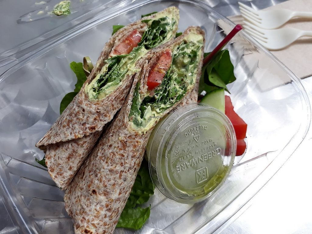 """Photo of Farmacy Vegan Kitchen & Bakery  by <a href=""""/members/profile/WayfaringGreenSoul"""">WayfaringGreenSoul</a> <br/>Spinach and Cashew Cream Cheese Wrap <br/> June 14, 2017  - <a href='/contact/abuse/image/92359/269152'>Report</a>"""