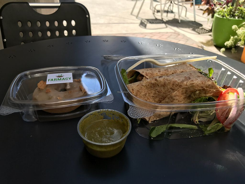 """Photo of Farmacy Vegan Kitchen & Bakery  by <a href=""""/members/profile/nafanc"""">nafanc</a> <br/>Wrap and donut <br/> November 30, 2017  - <a href='/contact/abuse/image/92359/330702'>Report</a>"""