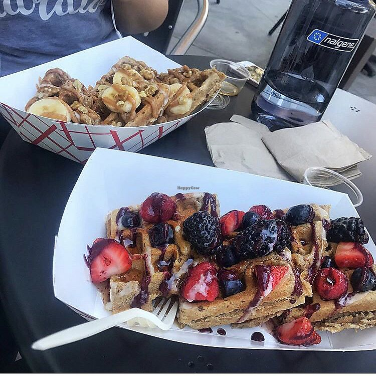 """Photo of Farmacy Vegan Kitchen & Bakery  by <a href=""""/members/profile/HufflepuffGirl"""">HufflepuffGirl</a> <br/>Waffles <br/> February 8, 2018  - <a href='/contact/abuse/image/92359/356242'>Report</a>"""