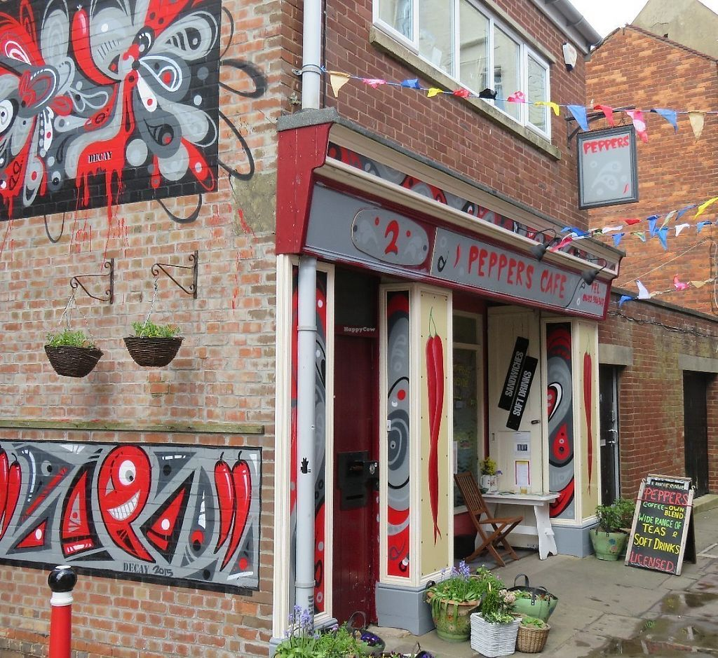"""Photo of Peppers   by <a href=""""/members/profile/Peppers-Cafe"""">Peppers-Cafe</a> <br/>Peppers Café in Bull Lane, off Westgate Street. Specialising in home-made foods with a wide range of soft drinks, local beers and ciders and own-blend coffee. Vegan and Vegie options abound. Seating is upstairs or in our secluded courtyard. Or Take-Away <br/> May 29, 2017  - <a href='/contact/abuse/image/92362/263742'>Report</a>"""