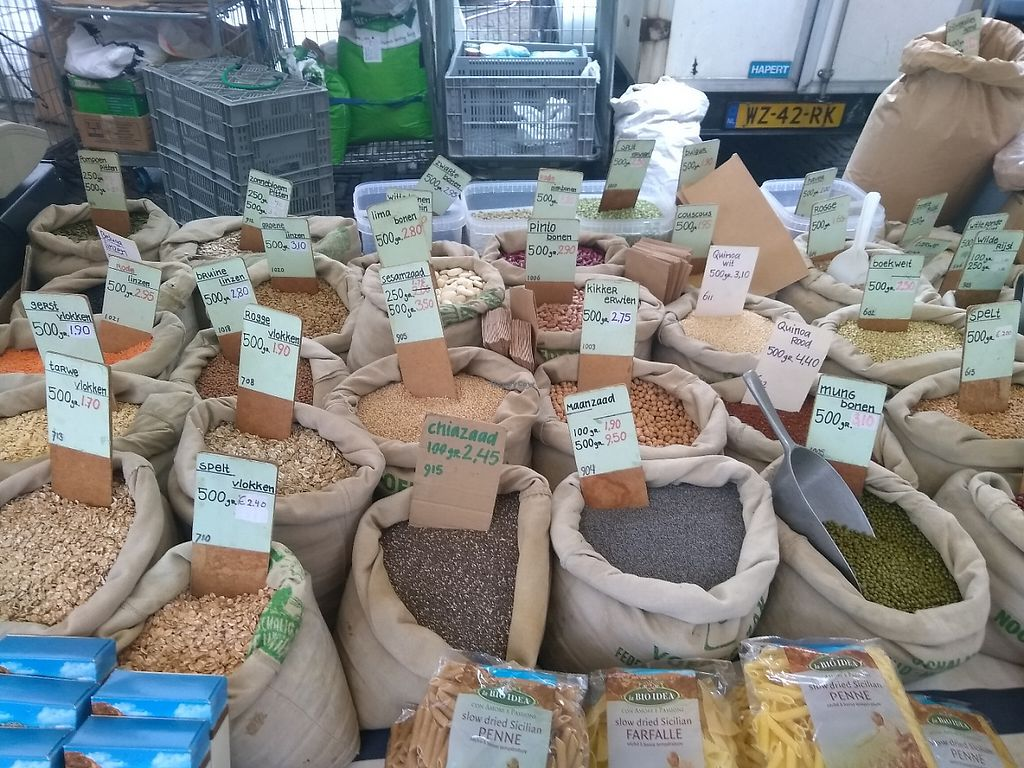 """Photo of Boerenmarkt op de Noordermarkt  by <a href=""""/members/profile/thenaturalfusions"""">thenaturalfusions</a> <br/>Organic grains & seeds <br/> May 19, 2017  - <a href='/contact/abuse/image/92370/260405'>Report</a>"""