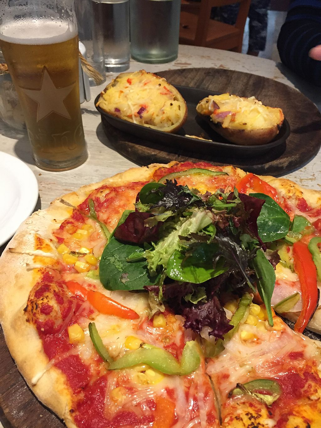 """Photo of Pizzas 'n' Cream  by <a href=""""/members/profile/TLC%20Veg."""">TLC Veg.</a> <br/>Pizza and potato skins :) <br/> September 26, 2017  - <a href='/contact/abuse/image/92402/308721'>Report</a>"""