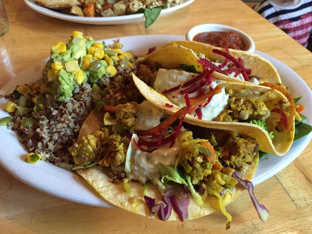 "Photo of CLOSED: Proper Eats Market and Cafe  by <a href=""/members/profile/monmart"">monmart</a> <br/>Three tempeh tacos <br/> April 9, 2015  - <a href='/contact/abuse/image/9241/98489'>Report</a>"