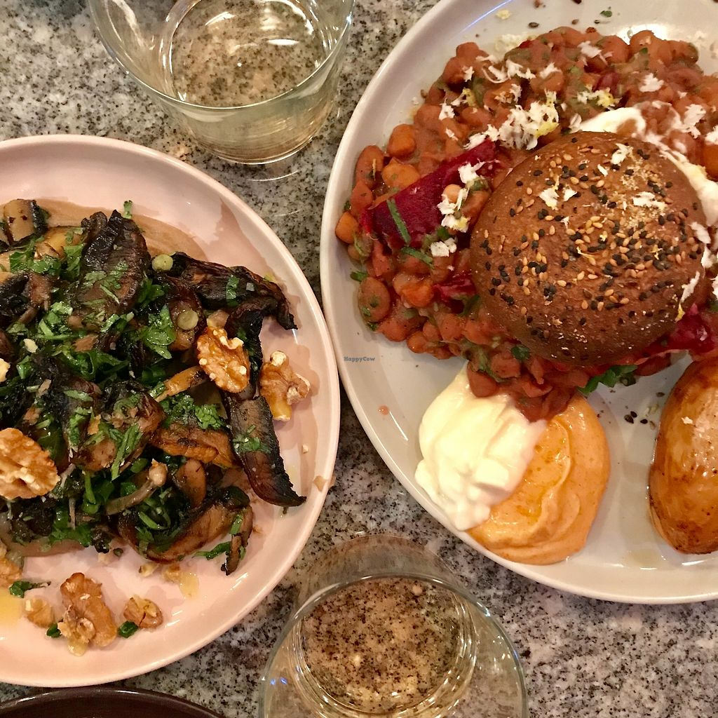 "Photo of Bana  by <a href=""/members/profile/Dharmalivi"">Dharmalivi</a> <br/>Mushrooms and bean burger <br/> December 14, 2017  - <a href='/contact/abuse/image/92456/335544'>Report</a>"